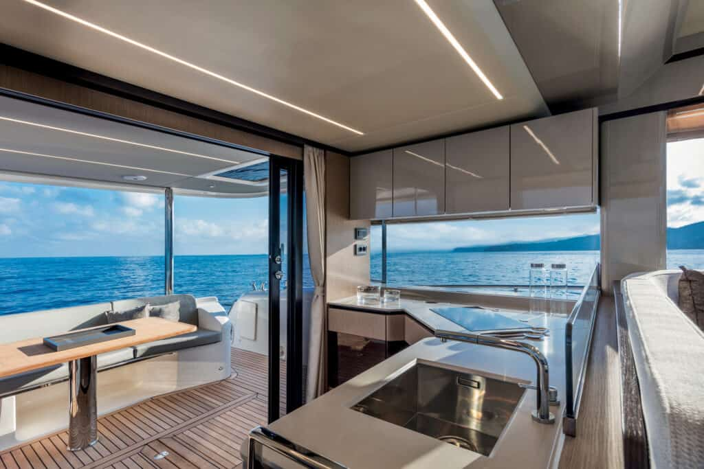 This is photo of a galley at new Absolute yacht