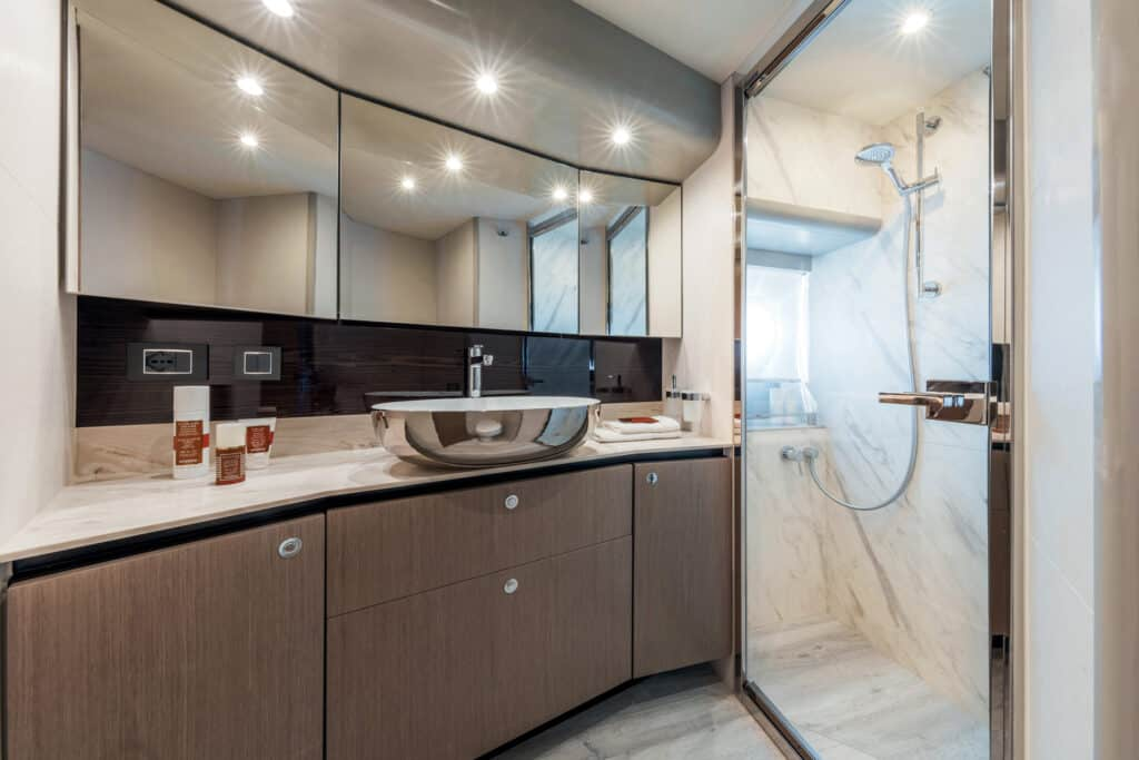 This is photo of a Navetta 48 master cabin