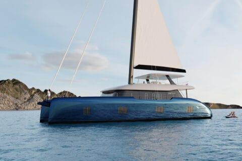This is photo of a new Sunreef 100 sail catamaran
