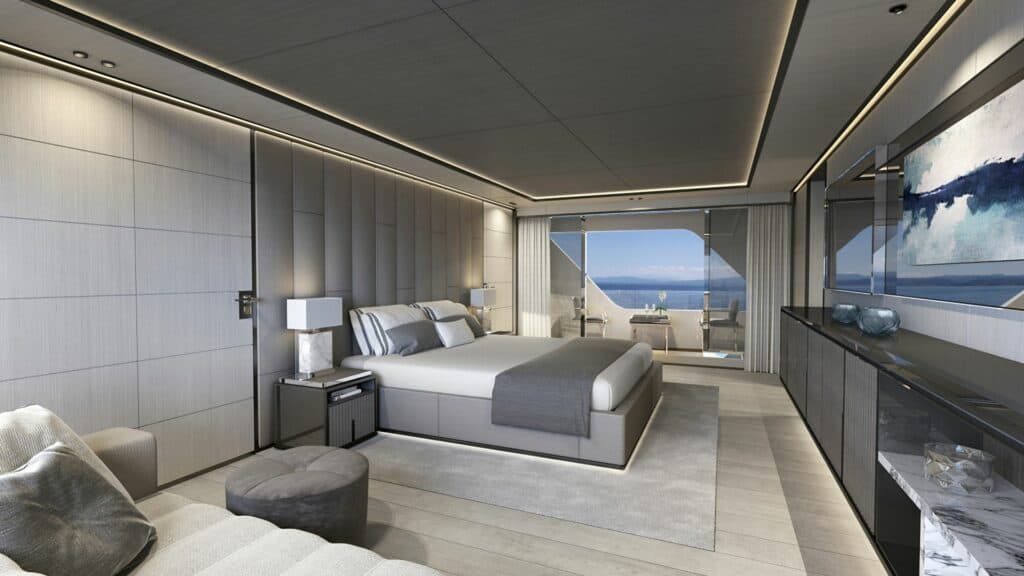 This is a photography of ISA superyacht master suite