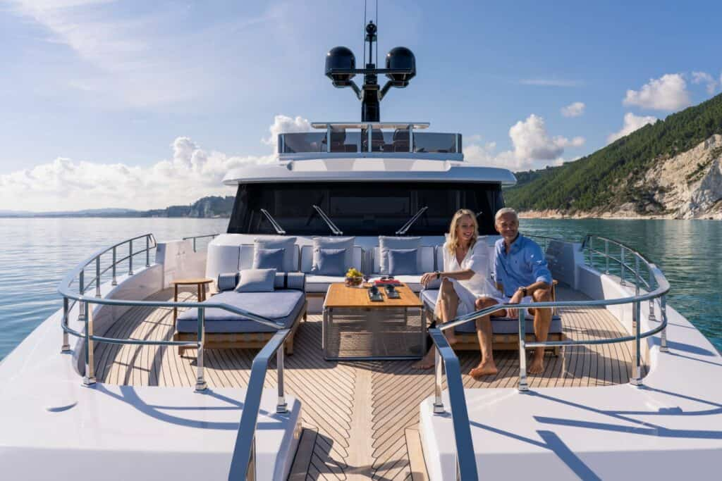 This is a photography of custom line navetta 30 sundeck