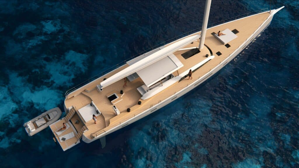 This is a photpgraphy of swan 108 maxi yacht