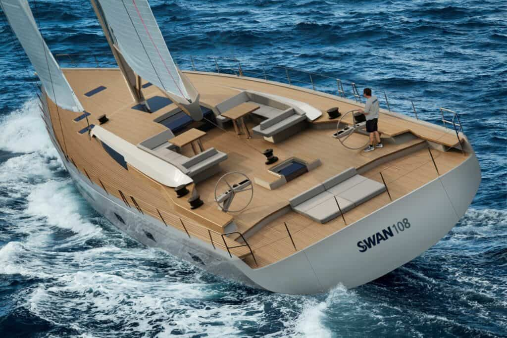 This is a photopgraphy of new sailing yacht swan 108