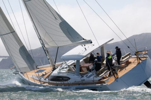 This is photo of a Hylas 57 cruising