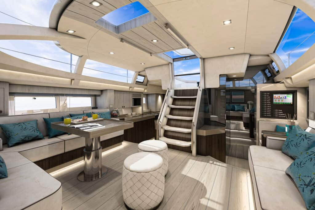 This is photo of a Hylas 57 galley and salon
