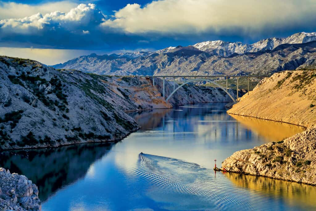 This is photo of a Maslenica bridge