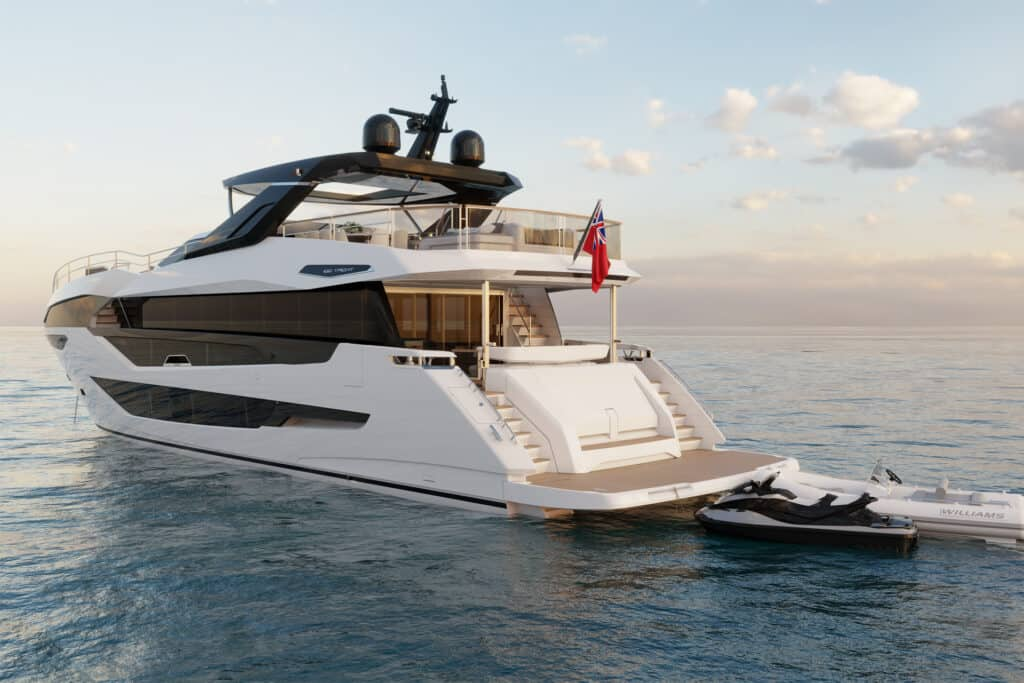 This is photo of a new Sunseeker 100 bow
