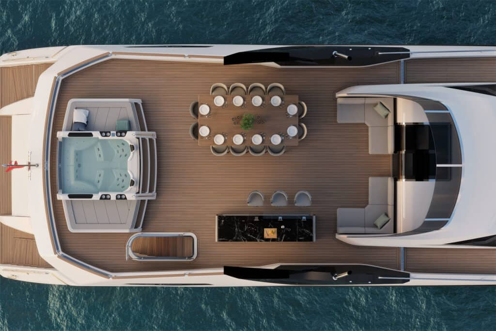 This is photo of a flybridge at Sunseeker 100