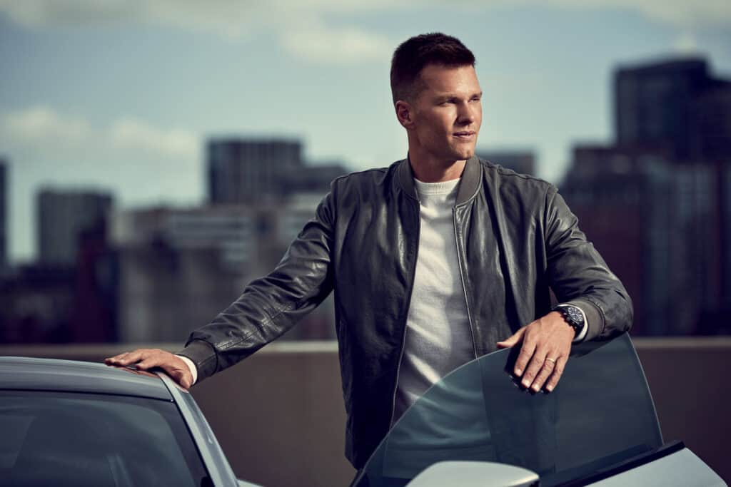 This is photo of a Tom Brady for IWC campaign