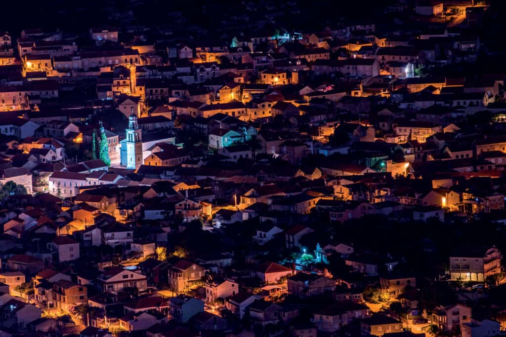 This is picture of Vela Luka at night