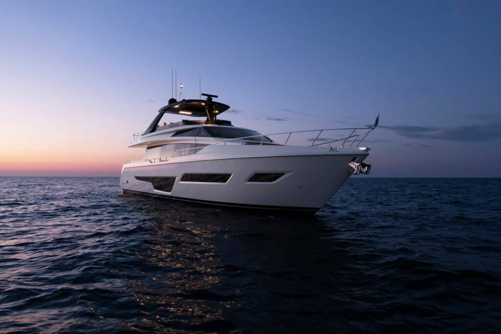 This is a photography of new Ferretti Yachts 780
