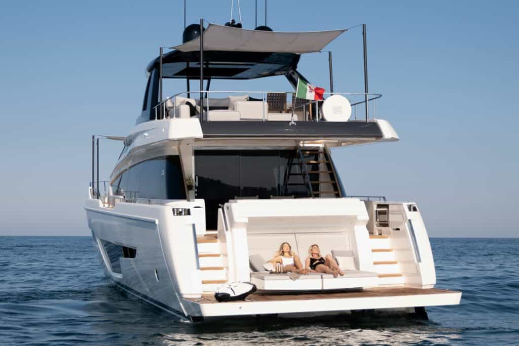 This is a photography of Ferretti 780 italian yacht