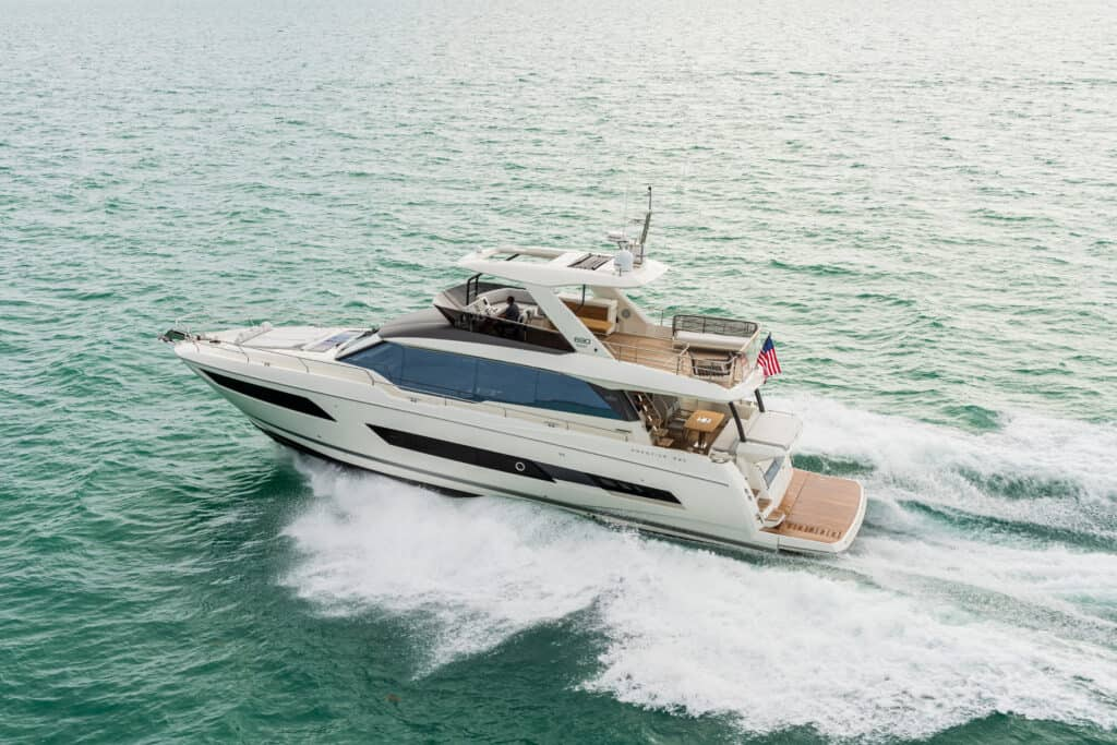 This is photo of a Prestige 690 motorne jahte cannes