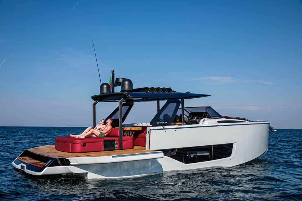 This is photo of a Cranchi A46 Luxury Tender premiere at Cannes Yachting Festival 2021