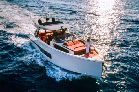 This is photo of a Cranchi A46 premiere at Cannes Yachting Festival 2021
