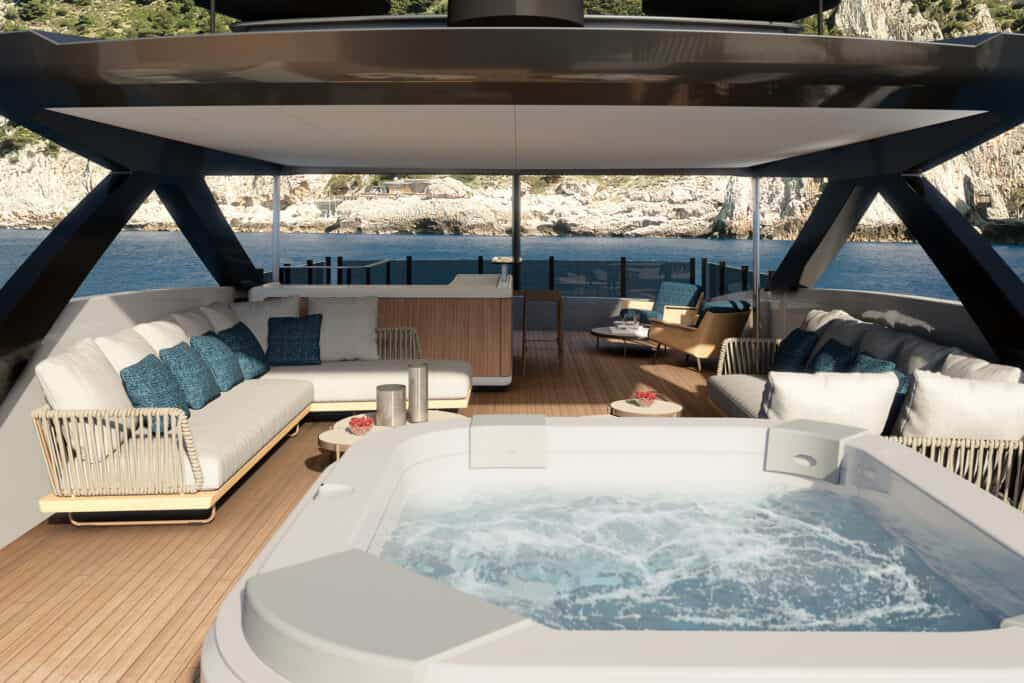 This is photo of a new Custom Line 140 superyacht project sun deck