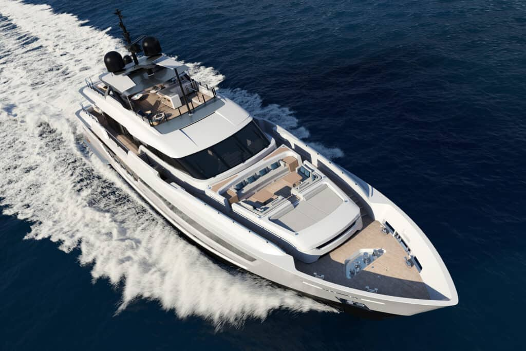 This is photo of a Custom Line 140 superyacht project
