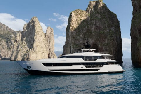 This is photo of a new Custom Line 140 Superyacht project