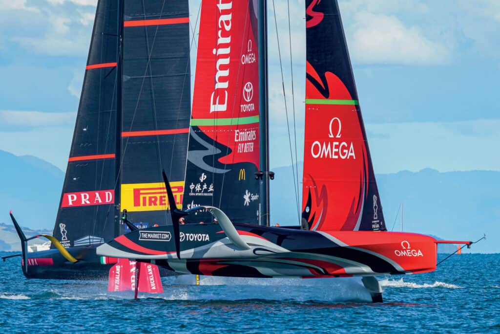 This is photo of a foiling monohull