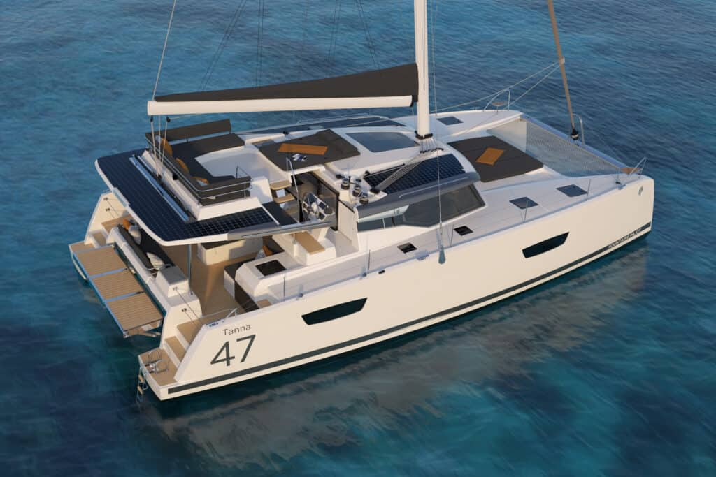 This is photo of a Fountaine Pajot Tanna 47 premiere at Cannes Yachting Festival 2021