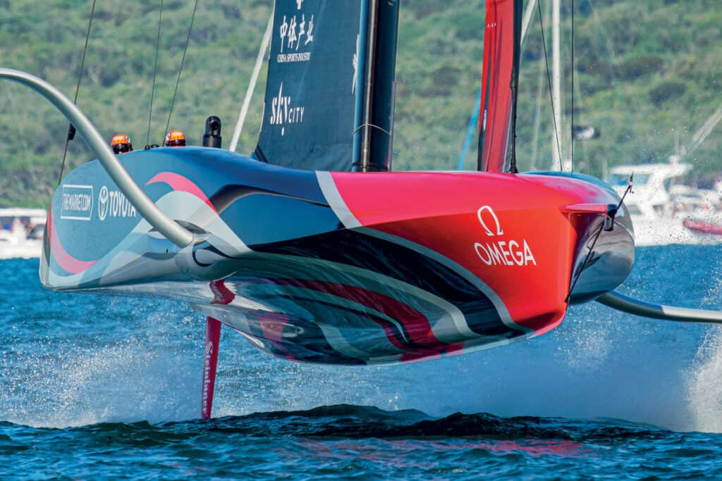 This is photo of a foilin monohull
