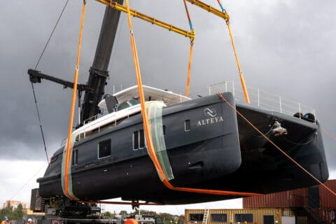 This is photo of a 70 Sunreef Power launch